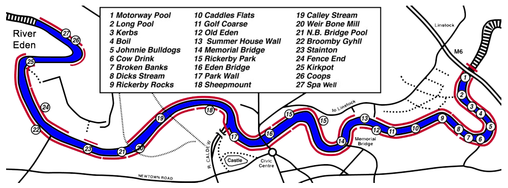 Map of Carlisle Angling Association water on River Eden showing 27 named pools